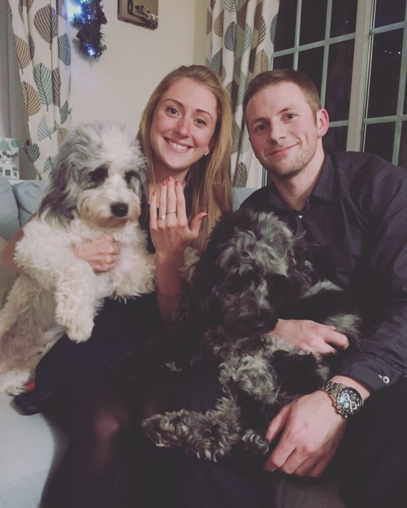 Couple with dogs:  Jason and Laura Kenny