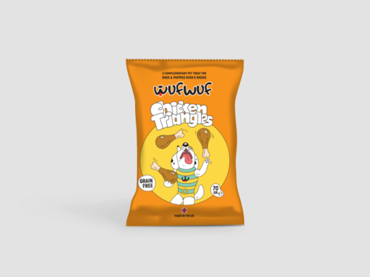Dog-treat packet, 'Chicken Triangles' from Wufwuf